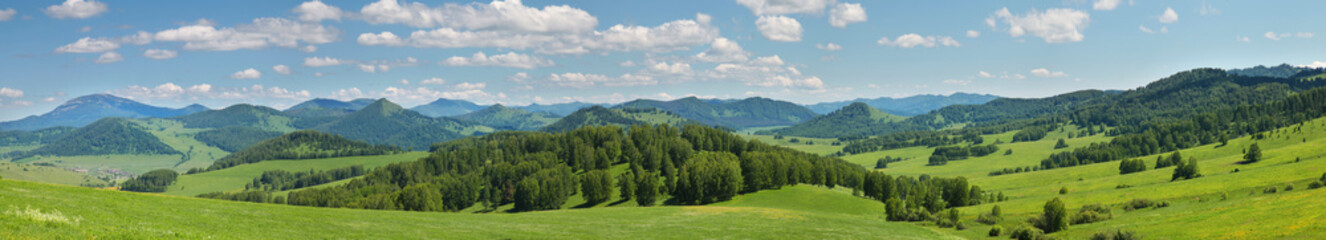 Large panoramic view of the spring landscape, countryside. Green forests and meadows, blue sky with white clouds.