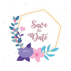 Wall Mural - flowers wedding, save the date, flowers nature frame decoration