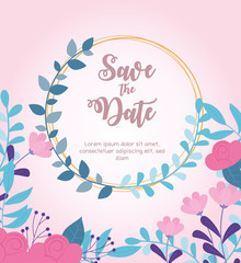 Wall Mural - flowers wedding, save the date, invitation card ceremony celebration floral