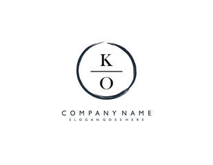 Fototapeta KO initial letter elegant handwriting logo collection obraz