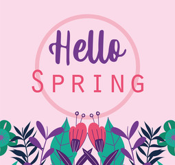 Wall Mural - hello spring, phrase flowers leaves plants seasonal decoration