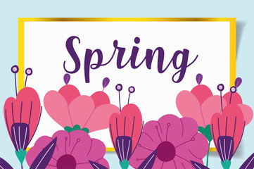 Wall Mural - hello spring, flowers floral season decoration frame