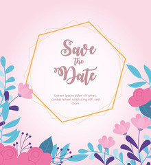 Wall Mural - flowers wedding, save the date, border decorative flowers pink background