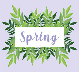 Wall Mural - hello spring, lettering banner foliage leaves ornament decoration