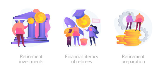 Pension fund, elderly people education, money saving icons set. Retirement investments, financial literacy of retirees, retirement preparation metaphors. Vector isolated concept metaphor illustrations