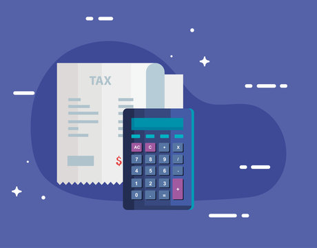 tax day with calculator and voucher paper vector illustration design