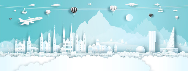 Wall Mural - Travel panorama to switzerland top world famous palace and castle.