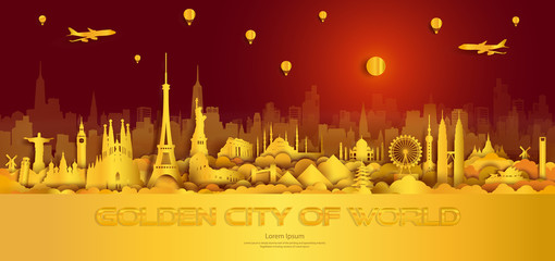 Wall Mural - Travel gold city landmarks of world Important architectural monuments.