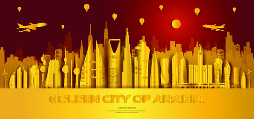 Fotomurales - Travel golden city landmarks middle east architectural monuments of world.