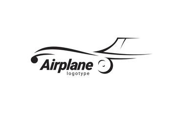 Airplane logo flight plane silhouette black color white background Fototapete