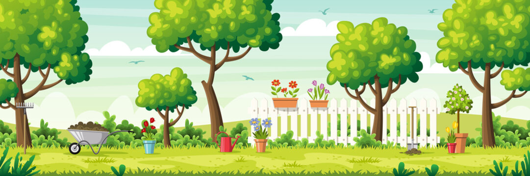 Summer garden with garden tools and fence. Vector Illustrations with separate layers. Concept for banner, web background and templates.