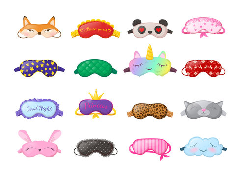 Sleep masks different shapes. Eye protection accessories and prevention of healthy sleep.