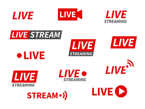 Live streaming icons. Broadcasting video news, tv stream screen banners. Online channel, live event stickers isolated vector set