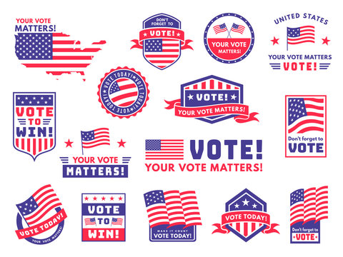 Usa voting labels. American presidential election badges and vote stickers, encouraging political voting banners. Patriotic emblem vector set