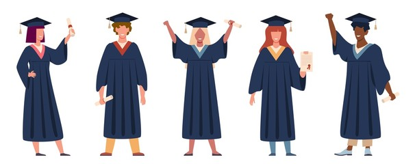 Graduated student. Happy students with diplomas wearing academic gown and graduation cap, group with education certificate vector set