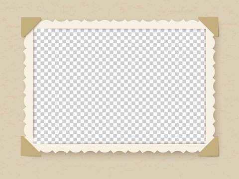 Retro photo frame. Vintage old postcard for album or picture with decoration edges vector template