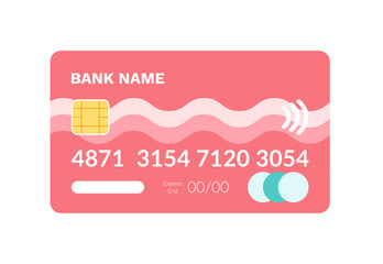 Wall Mural - Credit card with number and bank name template, object for electronic paying, currency online. Wireless payment, flat design of banking equipment vector