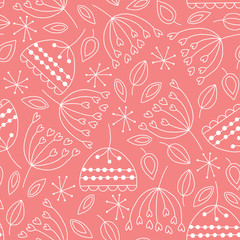 Fototapete - Seamless pattern with doodle plants