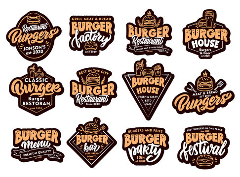 Set of Burger, fast food stickers, patches. Colorful badges, emblems, stamps on white background.