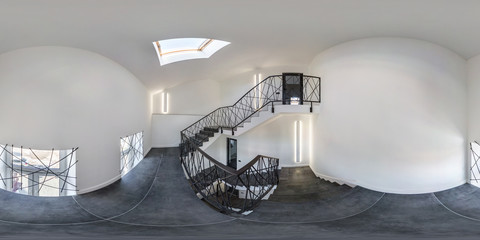 Photo sur Aluminium Spirale white emergency and evacuation exit spiral stair in up ladder with halogen lamps. full seamless spherical hdri panorama 360 degrees in interior room in modern building in equirectangular projection