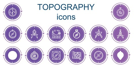 Editable 14 topography icons for web and mobile