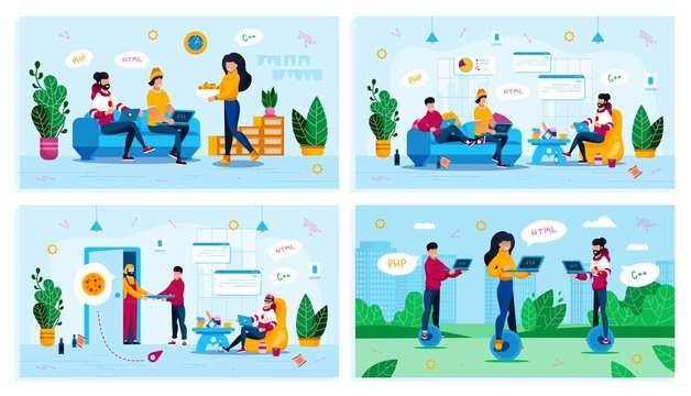 Freelancers Distant Work, IT Profession Online Education, Startup Team Trendy Flat Vector Concepts Set. Programmers Working at Home, Ordering Pizza, Web Developers Working in City Park Illustration