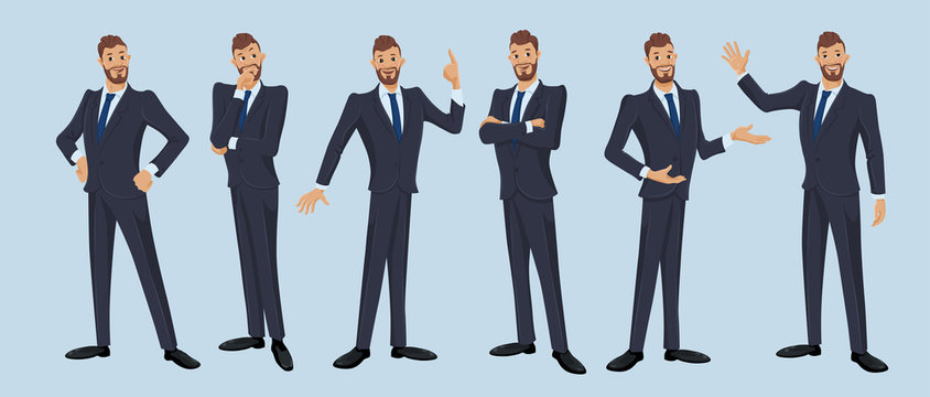 Businessman, office worker. Set of cartoon illustrations of man wearing business suit and standing in different poses. Vector isolated on the white background.