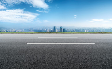 Chongqing urban skyline and asphalt road architectural landscape.. Fotomurales