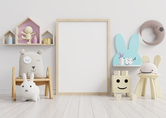 Interior mockup, kids room, wall frame mockup.