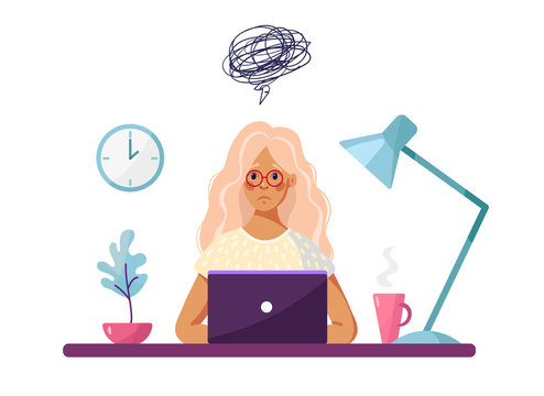A young girl sits at a table with a laptop and feels sad or depressed. Conceptual illustration about burnout, learning problems, self-doubt, fatigue. Cartoon vector illustration isolated