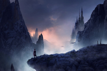 Spoed Fotobehang Nachtblauw fantasy castle landscape in mountains