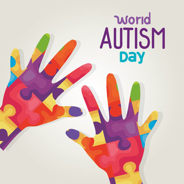 world autism day and hands with puzzle pieces vector illustration design