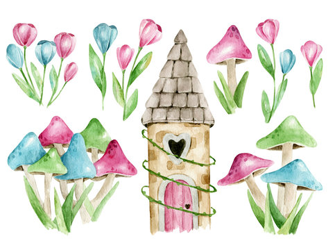 Hand drawn watercolor fairytale magic forest princess magic forest castle with heart shaped window and pink door, mushrooms and flowers. Pink, blue, green colors, cartoon character