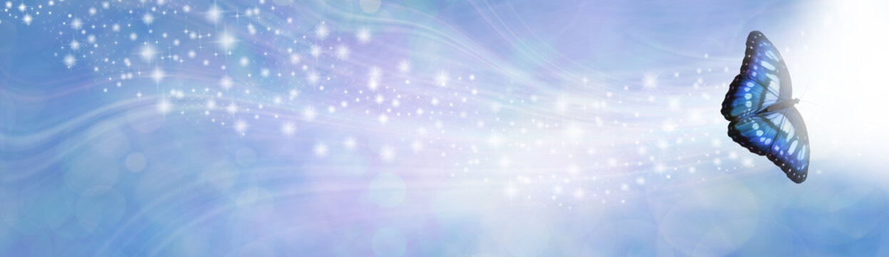Blue Spiritual Sparkle Butterfly Message Banner - wide gaseous flowing glittering shimmering banner with a beautiful open winged butterfly in right corner moving towards white light and copy space