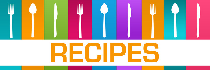 Recipes Colorful Boxes Spoon Fork Knife Horizontal Text