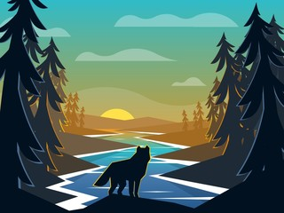 Wolf on sunrise background. River flowing through the forest to the horizon