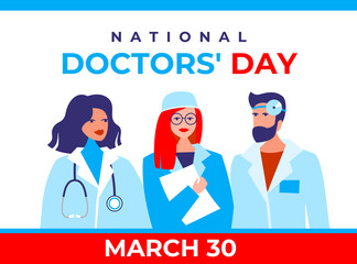 National doctor's day vector banner. International holiday, congratulations. The character is two female therapists, a doctor's surgeon, and a bearded male otolaryngologist in a flat style.
