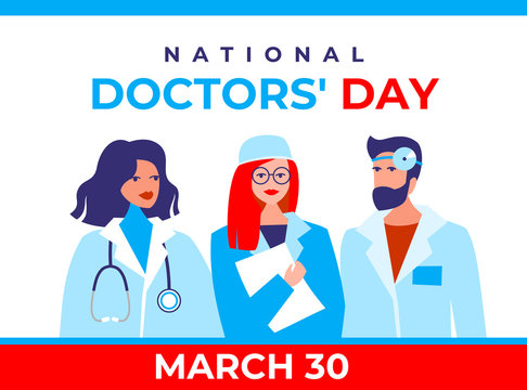 National doctors' day vector banner. International holiday, congratulations. The character is two female therapists, a doctor's surgeon, and a bearded male otolaryngologist in a flat style.