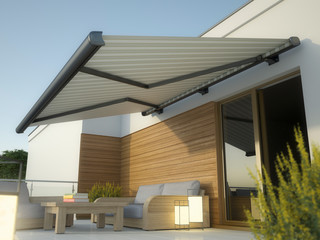 Awning and house terrace, 3D illustration