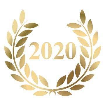 Year 2020 gold laurel wreath vector isolated on a white background