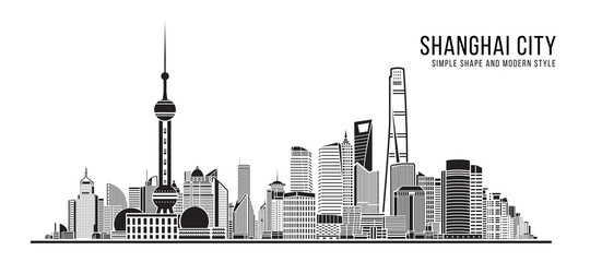 Cityscape Building Abstract Simple shape and modern style art Vector design - Shanghai city Fotomurales