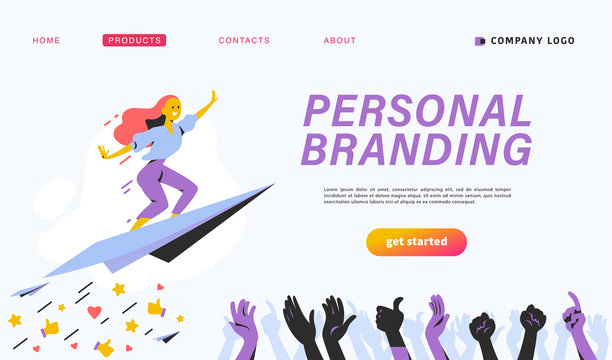 Personal brand design concept with business woman fly upwards on paper plane, like thumb up icons, human hands celebrate and applause. Landing page template, mobile app, ui. Vector flat illustration.