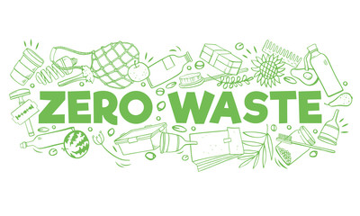 Title Zero waste with ecological objects. Food, containers, bottles. Hand drawn outline vector sketch illustration Wall mural