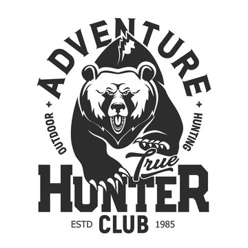 Grizzly bear, hunter club adventure T-shirt print template. Vector isolated outdoor hunt sport, wild roaring and running bear with claws, T shirt grunge print template