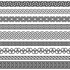 Celtic vector semaless border pattern collection, Irish braided frame designs for greeting cards, St Patrick's Day celebration