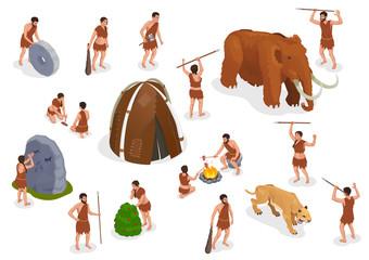 Obraz Caveman Prehistoric People Set - fototapety do salonu
