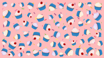 Seamless background pattern with cupcakes