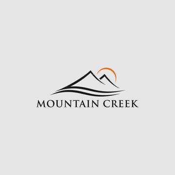 Montain creek logo design illustration for company symbol
