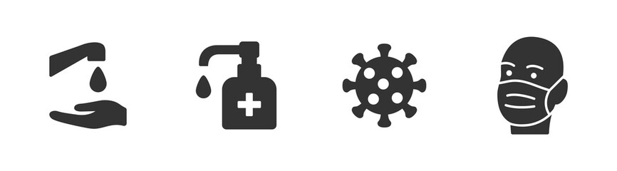 Hygiene vector icon set. Virus care black shape silhouette icons collection. Washing hands, anti bacterial soap