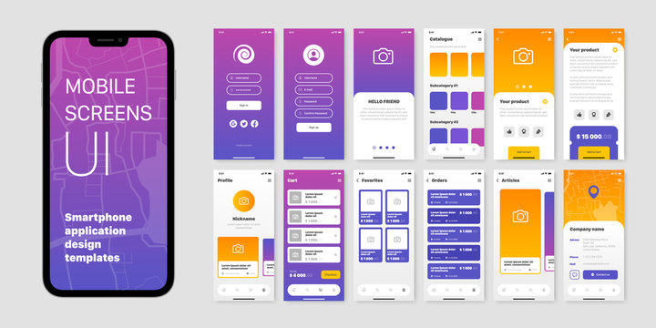 Mobile Application Design Templates Set
